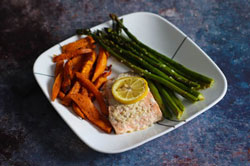salmon asparagus with sweet potatoes