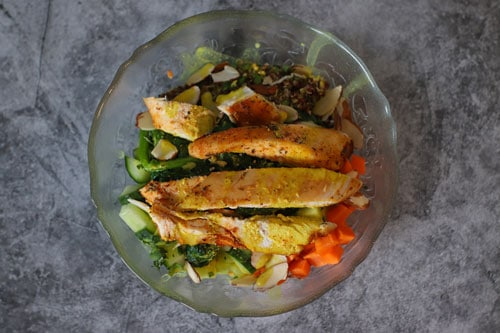 chicken quinoa coconut curry bowl unmixed