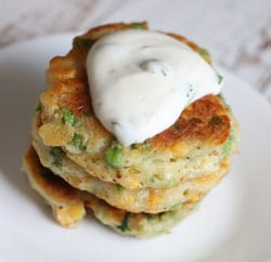 corn and pea fritters