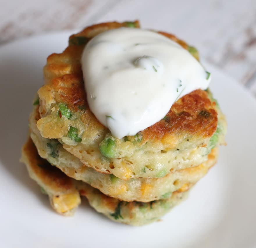 Corn and Pea Fritters with Cilantro