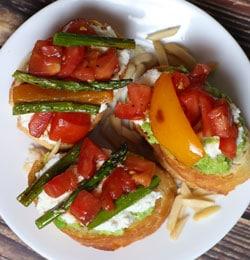 roasted asparagus and ricotta crostini